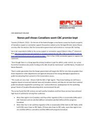 Nanos poll shows Canadians want CBC promise ... - Nanos Research