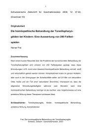 Die homöopathische Behandlung der Tonsillopharyn ... - Heiner Frei
