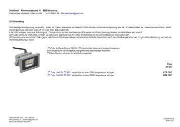 SolarStreuli Maurenmoosstrasse 36 8815 Horgenberg LED ...