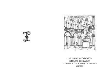 l'adunanza solenne - Istituto Lombardo Accademia di Scienze e ...