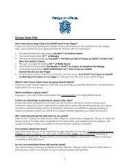 Groups Sales FAQ - Cirque du Soleil