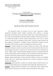 CARLO LOMBARDI Aspetti peculiari dell'energia nucleare - Istituto ...