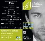 billetech : 418 643.8131 - Orchestre symphonique de Québec