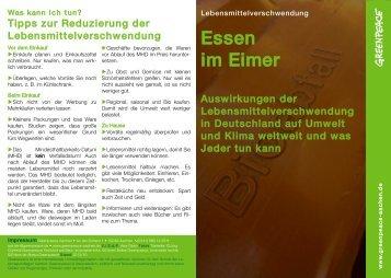 Broschüre mit Tipps zur Reduzierung der Lebensmittelverschwendung