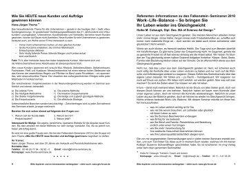38. Falkenstein-Seminare - RAS Training und Beratung