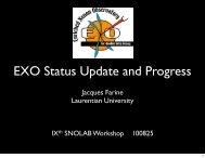 EXO Status Update and Progress - SNOLAB 2010