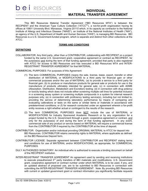 Transfer Agreement   Individual Material Transfer Agreement Bei Resources
