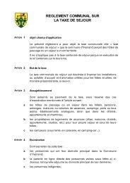 Règlement sur la taxe de séjour - Yvonand