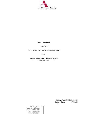 Hampton Rail Test Report - Intex Millwork Solutions