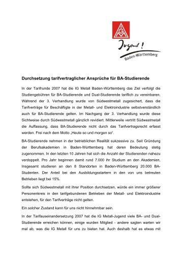 Position BA - IG Metall Karlsruhe - IG Metall Baden-Württemberg
