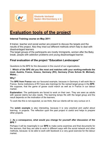 Evaluation tools of the project - Education Landscapes