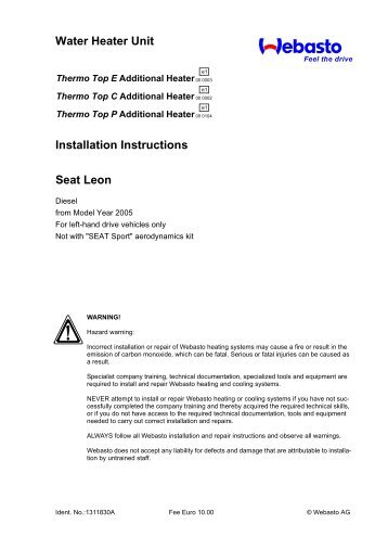Water Heater Unit Installation Instructions Seat Leon