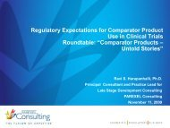 Regulatory Expectations for Comparator