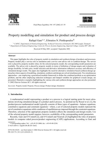 Property modelling and simulation for product and process ... - CAPEC