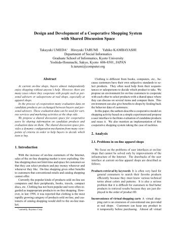 Design and Development of a Cooperative Shopping ... - CiteSeerX