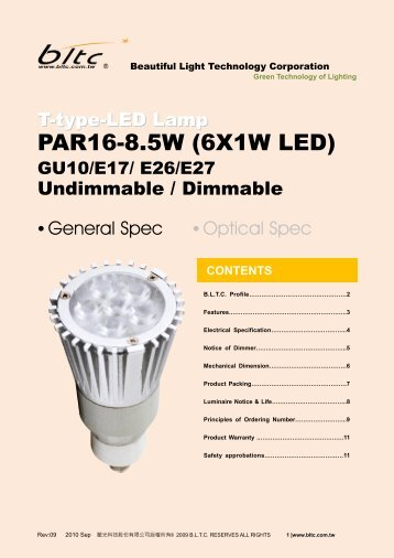 PAR16-8.5W (6X1W LED) - Beautiful Light Technology Corp