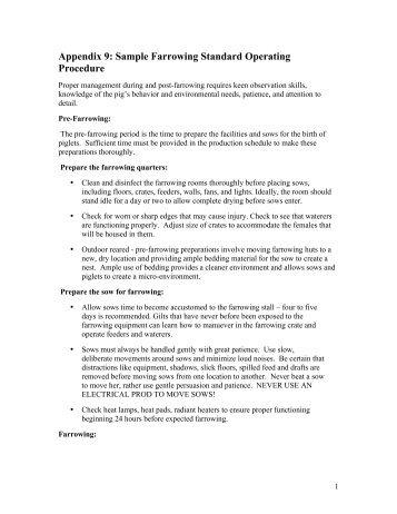 Appendix 9: Sample Farrowing Standard Operating Procedure - CQA