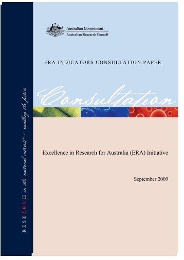 ERA Indicators Consultation Paper - Australian Research Council