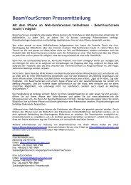 Vorlage Pressemitteilung - BeamYourScreen