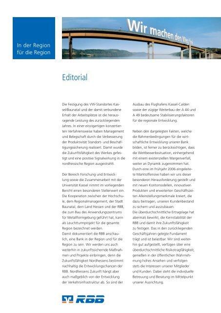 RBB-Geschäftsjahr 2006 - Raiffeisenbank eG Baunatal