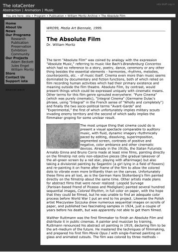(The Absolute Film \227 iota) - An International Archive of Sound Art