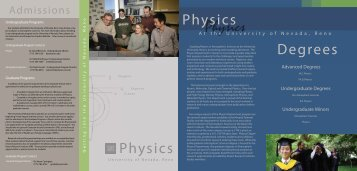 Admissions - Physics - University of Nevada, Reno
