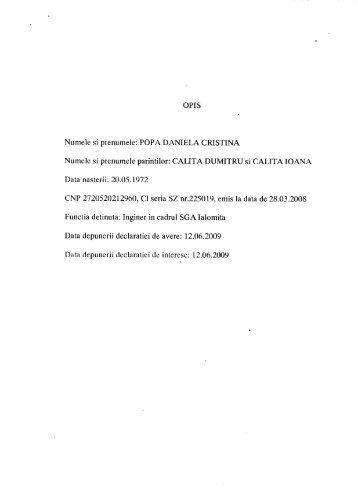 OPIS Numele si prenumele: POPA DANIELA CRISTINA Numele si ...