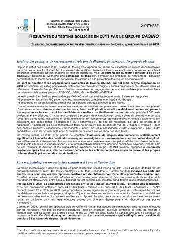 Synthese des résultats du Testing sollicité en 2011 - Groupe Casino