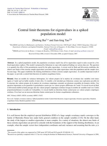 Central limit theorems for eigenvalues in a spiked ... - Project Euclid