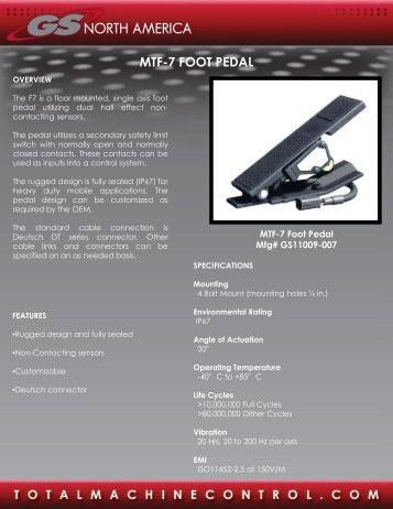 Foot Pedal Single Axis Floor Mount MTF-7 - GSNA.com