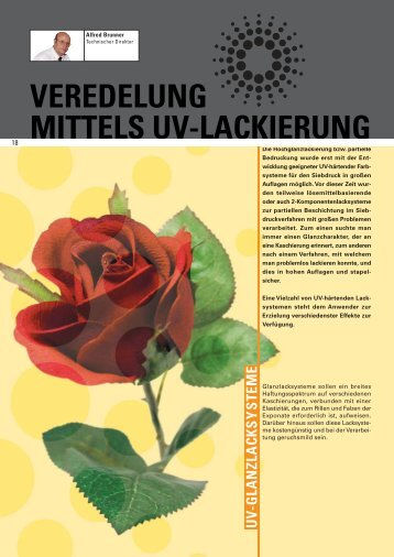 VEREDELUNG MITTELS UV-LACKIERUNG - Coates Screen