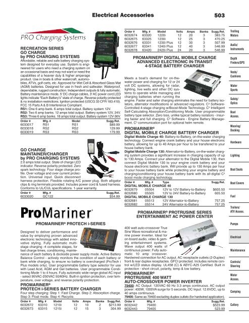 ProMariner Digital Mobile Charge40 Advanced Electronic In-Transit 4 Stage Battery Charger 12V to 24V