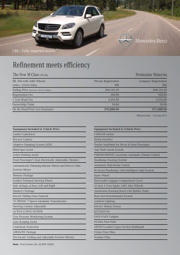 Download ML350 BlueEFFICIENCY price list for Peninsular Malaysia