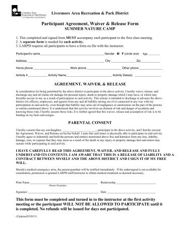 participation waiver template - 28 images - free printable ...