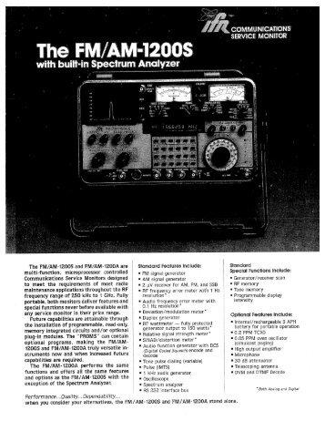 FM/AM 1200S specification sheet - AvionTEq