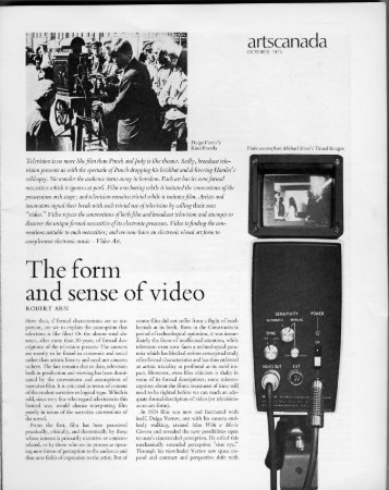 The Form and Sense of Video - Experimental Television Center