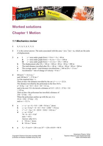 Worked solutions Chapter 1 Motion - PEGSnet