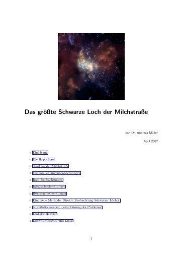 Schwarzes Loch im Zentrum der Milchstraße Andreas Müller