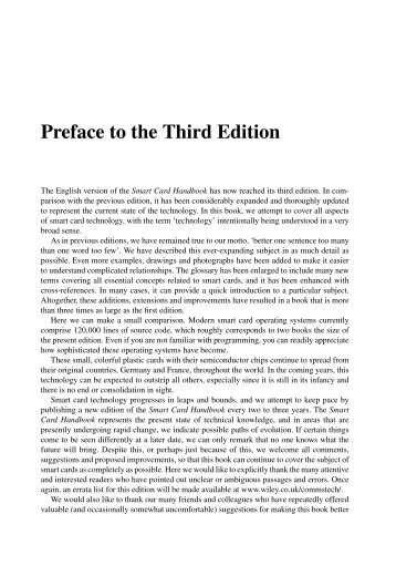 Preface to the Third Edition - of Wolfgang Rankl