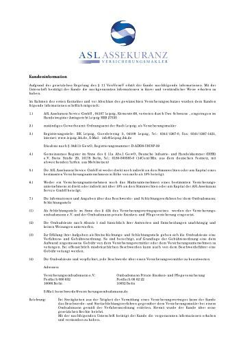 Kundeninformation - ASL Assekuranz Service GmbH Leipzig