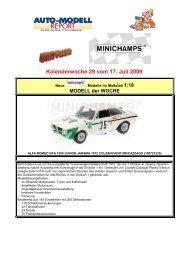 MINICHAMPS NEWS FLASH für KW 29 vom 17.07.2009