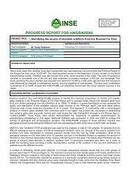 PROGRESS REPORT FOR AINGRA05040 - ANSTO