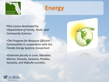 Energy - Sarasota County Extension - University of Florida