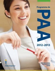 Introduction : le programme de PAA - Insurance Institute of Canada