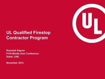 UL Qualified Firestop Contractor Program - FCIA