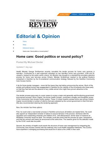 Niagara Falls Review - Home Care Politics - Feb 08 - Ontario Home ...