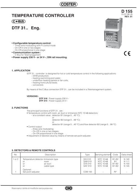 D 155 TEMPERATURE CONTROLLER DTF 31   Eng  - Coster