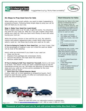 Using Kelley Blue Book To Buy Used Cars For Sale Enterprise Car
