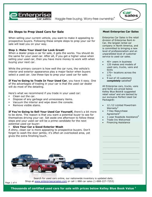 Enterprise Cars For Sale >> How To Prep Used Cars For Sale 6 Easy Steps Enterprise Car Sales
