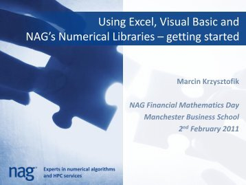 Using Excel, Visual Basic and NAG's Numerical Libraries – getting ...